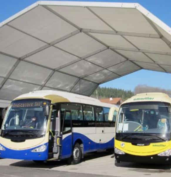 Carpas para aparcamientos de autobuses y maquinaria