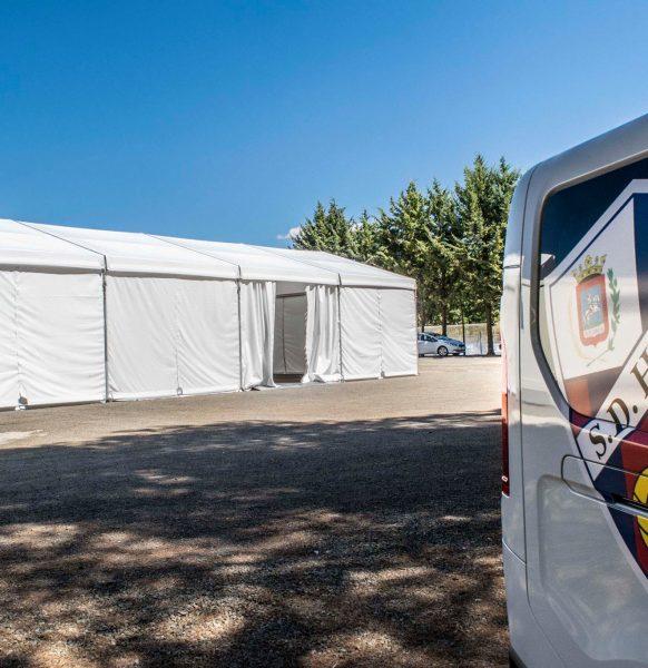 Seguridad en tiempos de la COVID: Carpa para la SD Huesca