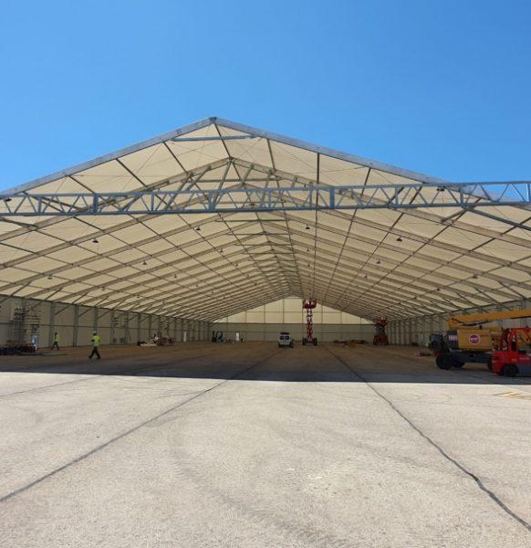 Carpas para aeropuertos: naves desmontables para hangares