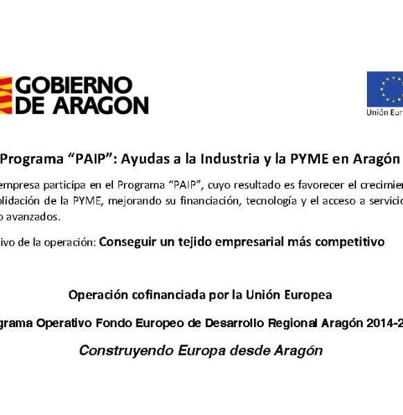 Acarpas recibe ayudas a la industria y PYME del Gobierno de Aragón